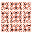 forbidden icons prohibiting red symbols no vector image