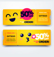 gift voucher template with coupon code with emoji vector image vector image