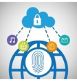 global communication cloud security social network vector image vector image