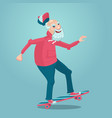 grandpa on a skate old man is skating cartoon vector image vector image
