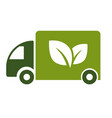 green truck isolated icon eco fuel electric van vector image