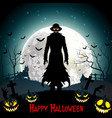 halloween death with grim reaper wolf and pumpkin vector image vector image