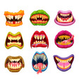 halloween masks monster mouth teeth and tongue vector image vector image