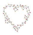 heart shape frame from xmas light bulbs simple vector image