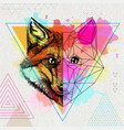 hipster animal realistic and polygonal fox on vector image vector image