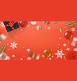 holiday greeting frame coral color horizontal vector image vector image