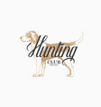 hunting dog label vector image vector image