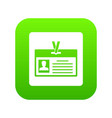 identification card icon digital green vector image