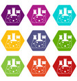 laboratory flasks icon set color hexahedron vector image vector image