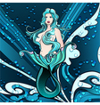 Mermaid in blue vector image vector image