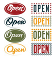 Open Sign retro collection vector image vector image