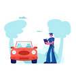 police officer character stand near auto write vector image