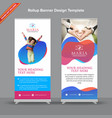 premium red and blue rollup banner with moderns vector image vector image