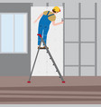 professional working man on a stepladder applies vector image vector image