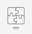 puzzle line icon mosaic flat logo business vector image vector image