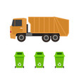 rubbish truck and cans vector image vector image