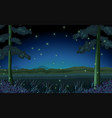 scene with fireflies in forest at night vector image