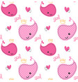 seamless pattern cute pink whales girl with crown vector image vector image