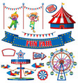Set circus items on white background