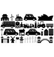 set silhouette town element vector image