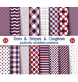 set sixteen patriotic seamless patterns vector image vector image