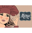 Sexy chef woman in uniform gesturing ok sign with vector image vector image