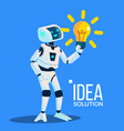 smart robot with yellow bulb find an idea vector image vector image