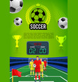 soccer match sport game banner with football field vector image vector image