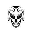 sugar skull with geometric ornament tattoo art vector image