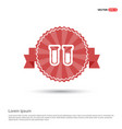 test-tube icon with drop of blood - red ribbon vector image