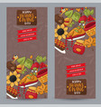 thanksgiving vertical banner set happy holiday vector image vector image