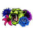 tiger head face and composition flowers yellow vector image