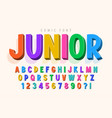 trendy 3d comical font design colorful alphabet vector image