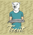 white bear with fresh fish vector image vector image
