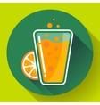 Flat ice tea drink icon Orange juice glass vector image