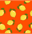 seamless pattern lemon on orange background vector image