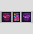 carnival party poster in neon style neon sign vector image