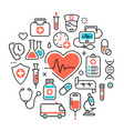 health heart care concept medical icons signs vector image