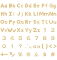 Alphabet numbers and signs set paper vector image vector image