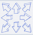 arrows in all directions grunge technique hand vector image vector image