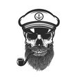 bearded skull sea captain design element vector image vector image