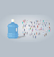 big plastic bottle over people group different vector image vector image