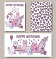 birthday cards design with funny cats vector image