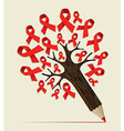 Cancer care concept pencil tree vector image vector image