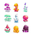 cartoon colorful fantasy glossy mushrooms icons vector image vector image