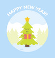 christmas tree cartoon characters new year card vector image