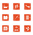 clinical case icons set grunge style vector image vector image