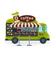coffee truck street meal vehicle mobile shop vector image vector image