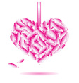 decorative heart symbol from pink feathers eps10 vector image vector image