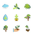 environment protection icons set cartoon style vector image vector image